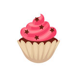 Chocolate cupcake with pink colored icing, cartoon vector illustration Royalty Free Stock Images