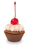 Chocolate cupcake with pink cream and cherry Royalty Free Stock Photography