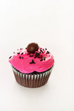 Chocolate cupcake with pink frosting. Shot of a chocolate cupcake with pink frosting Royalty Free Stock Image