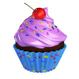 Chocolate cupcake with pink frosting cherry and sprinkles. 3d render of cupcake with pink frosting and color sprinkles, includes clipping mask Royalty Free Stock Image