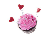 Chocolate cupcake with pink icing Stock Photography