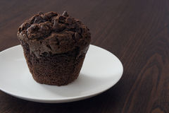Chocolate cupcake. On a plate stock image