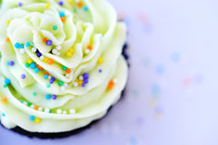 Chocolate cupcake with plenty of sprinkles and copyspace Royalty Free Stock Image