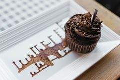 Chocolate Cupcake on Rectangular White Ceramic Plate Royalty Free Stock Photos