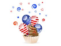 Chocolate cupcake. With red and blue balloons vector illustration