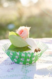 Chocolate Cupcake with rose Stock Image