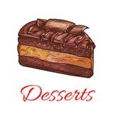 Chocolate cupcake sketch icon. Patisserie emblem Stock Photo