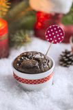 Chocolate Cupcake with Snowflakes, Candle and Christmas Tree Stock Image