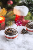 Chocolate Cupcake with Snowflakes, Candle and Christmas Tree Royalty Free Stock Photo