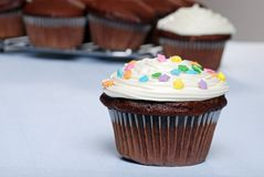 Chocolate cupcake with sprinkles and more in back Stock Image