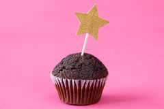 Chocolate cupcake with a star Stock Images