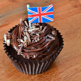 Chocolate cupcake with Union Jack flag Royalty Free Stock Images