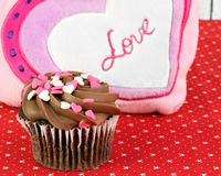 Chocolate Cupcake for Valentines Day Stock Image