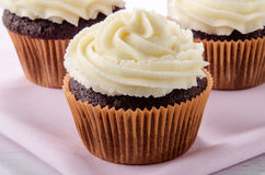 Chocolate cupcake with vanilla buttercream Royalty Free Stock Images