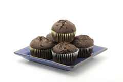 Chocolate cupcakes. With chunks of chocolate on a plate Royalty Free Stock Photo