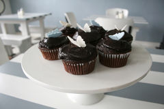 Chocolate Cupcakes. Freshly baked chocolate cupcakes, topped with butterfly decorations, in a quaint cafe Stock Photography