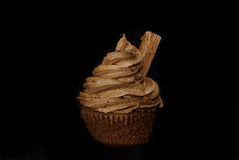 Chocolate Cupcakes. Cup cakes/Muffins suitable for a birthday card or celebration card.chocolate fondant icing and flake Royalty Free Stock Photo