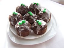 The chocolate cupcakes. Already for the St. Pat`s party Stock Photos