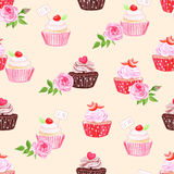 Chocolate and cupcakes beige seamless vector print Stock Photo