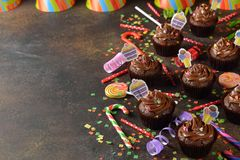 Chocolate cupcakes for birthday royalty free stock images