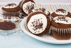 Chocolate Cupcakes with Buttercream Icing and Sprinkles Royalty Free Stock Images