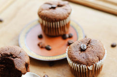 Chocolate cupcakes with coffee beans Royalty Free Stock Photos