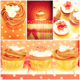 Chocolate cupcakes, collage Stock Photography