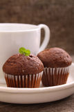 Chocolate cupcakes with a cup of tea Royalty Free Stock Photos