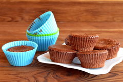 Chocolate cupcakes. Delicious homemade cupcakes. Sweet pastries. Baking molds. Chocolate cupcake in a mold Stock Photo