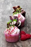 Chocolate  cupcakes  with fresh raspberries and cream on wooden t. Chocolate  cupcakes with fresh raspberries and cream on wooden table Stock Images