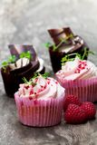 Chocolate  cupcakes  with fresh raspberries and cream on wooden t. Chocolate  cupcakes with fresh raspberries and cream on wooden table Stock Image