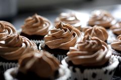 Chocolate Cupcakes. With chocolate frosting in a black and white polka dot outting Stock Images
