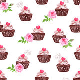 Chocolate cupcakes with hearts seamless vector print Royalty Free Stock Images