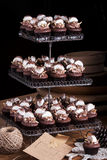 Chocolate Cupcakes with Marshmallow. Chocolate cupcake with marshmallow for celebration birthday party stock photo