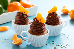 Chocolate cupcakes with orange Royalty Free Stock Photography