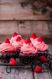 Chocolate cupcakes with pink cream, sugar hearts and fresh raspberries for  Valentine Day. Chocolate cupcakes with pink cream, sugar hearts and fresh raspberries Royalty Free Stock Photos