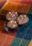 Chocolate cupcakes. On the plate Stock Image