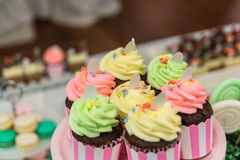 Chocolate cupcakes. On a plate with other sweets in the background Royalty Free Stock Photography