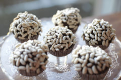 Chocolate cupcakes with puffed rice Royalty Free Stock Photography