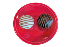 Chocolate Cupcakes on Red Plate  Royalty Free Stock Photos