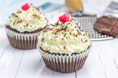 Chocolate cupcakes with ricotta cheese frosting. Closeup Royalty Free Stock Image