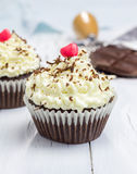 Chocolate cupcakes with ricotta cheese frosting Stock Photography