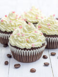 Chocolate cupcakes with ricotta cheese frosting. On the white plate Stock Image