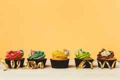 Chocolate cupcakes in a row with colourful icing Stock Images