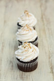 Chocolate Cupcakes In A Row With White Icing Royalty Free Stock Images