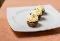 Chocolate cupcakes with silver sprinkles on top on white plate. Three chocolate cupcakes with silver sprinkles on top, on white plate and fabric tablecloth Stock Image