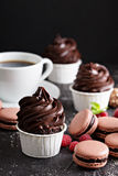 Chocolate cupcakes with thick and glossy frosting Stock Photos