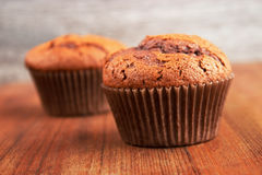 Chocolate cupcakes. Two home baked chocolate cupcakes on wooden surface , gray background Royalty Free Stock Photo