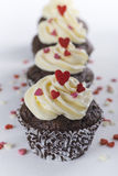 Chocolate cupcakes for Valentines day with hearts Stock Photography