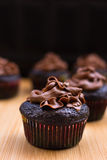 Chocolate Cupcakes. Vertical close-up image Royalty Free Stock Photo